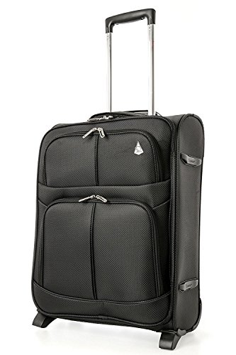 Aerolite 55x40x20 Erweiterbar 55x40x23 Lufthansa Eurowings Ryanair Höchstbetrag Leichter Handgepäck Handgepäckkoffer Koffer Bordgepäck Trolley Schwarz