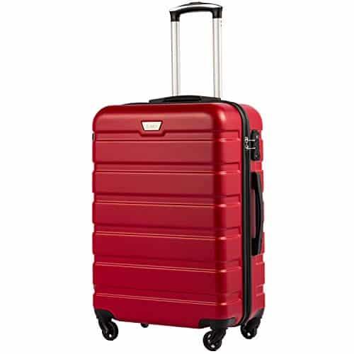 COOLIFE Hartschalen-Koffer Trolley Rollkoffer Reisekoffer mit TSA-Schloss und 4 Rollen(Rot, Handgepäck)