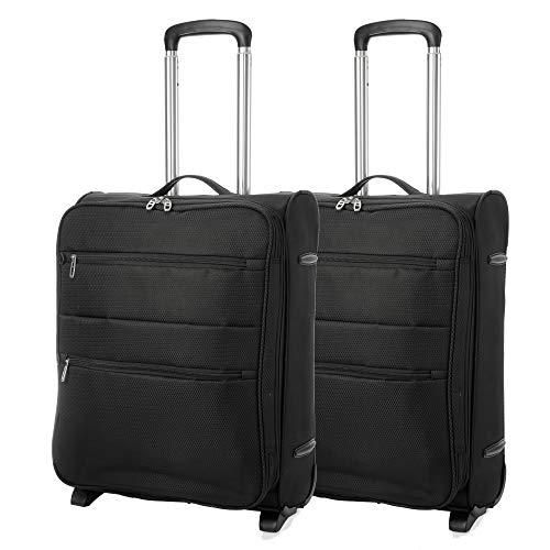 EONO Essentials 55x40x20 Ryanair Höchstbetrag 2 Rollen Leichtgewicht Koffer Bordgepäck Trolley Kabinentrolley Gepäck, erweiterbar zu Einem 55x40x23 Handgepäck für Lufthansa & Eurowings, 2 x Schwarz
