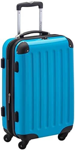 HAUPTSTADTKOFFER - Alex - Handgepäck Hartschalen-Koffer Trolley Rollkoffer Reisekoffer Erweiterbar, 4 Rollen, 55 cm, 42 Liter, Cyanblau