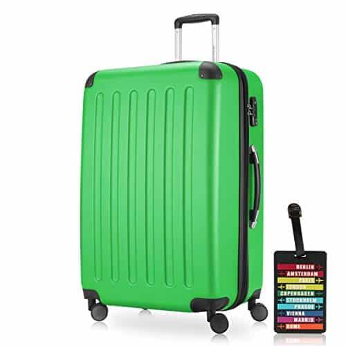 HAUPTSTADTKOFFER - Spree - Hartschalenkoffer Rollkoffer + Kofferanhänger, erweiterbarer Reisekoffer, 4 Rollen, TSA, 75 cm, 119 Liter, Apfelgrün