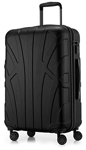 Suitline Hartschalen-Koffer Koffer Trolley Rollkoffer Reisekoffer, TSA, 66 cm, ca. 58 Liter, 100% ABS Matt, Schwarz
