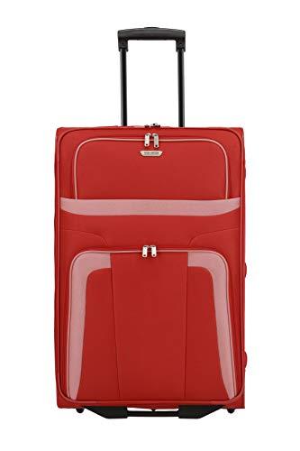Travelite 2-Rad Koffer Größe L, Gepäck Serie ORLANDO: Klassischer Weichgepäck Trolley im zeitlosen Design, 098489-10, 73 cm, 80 Liter, rot